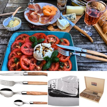 Couverts Laguiole Jean Dubost made in France, tomates mozzarella crédit photo Régina kochenausliebe